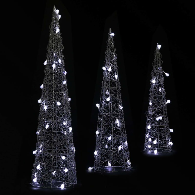 Outdoor Light Up Christmas Tree.Homegear Christmas Silver Cone Tree 3 Pack Pre Lit With 75 Led Lights Indoor Or Outdoor Use