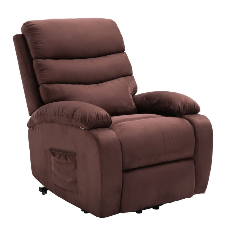 Homegear 2-Remote Microfiber Power Lift Electric Recliner Chair with Massage, Heat and Vibration with Remote - Brown #3