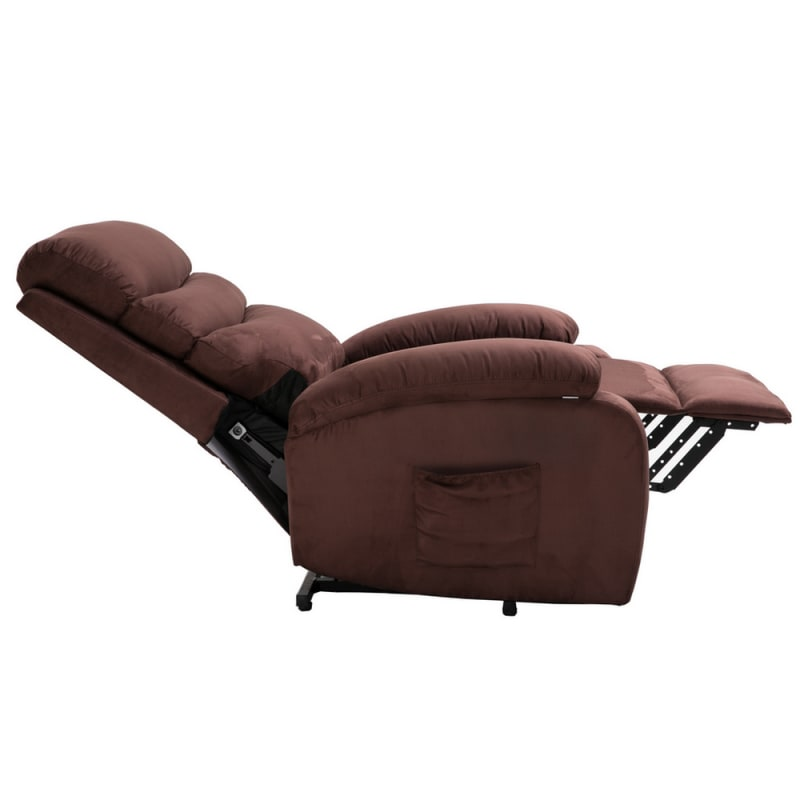 Homegear 2-Remote Microfiber Power Lift Electric Recliner Chair V2 with Massage, Heat and Vibration with Remote - Brown #2