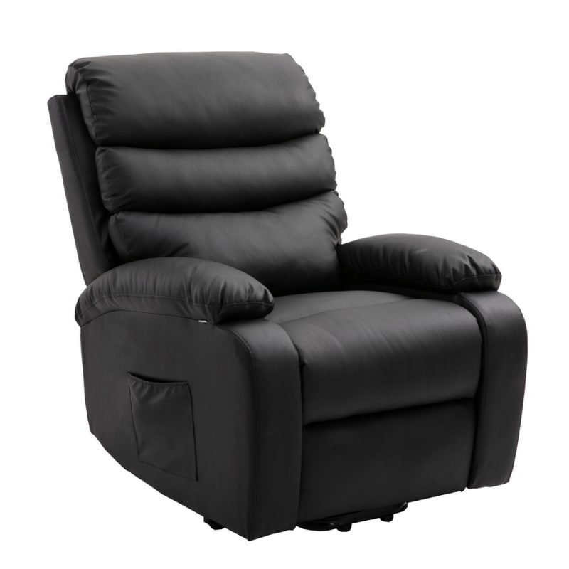 Homegear PU Leather Power Lift Electric Recliner Chair with Massage, Heat and Vibration with Remote - Black #3