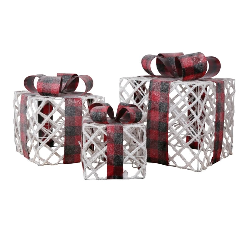 Homegear Christmas Set Of 3 Pre Lit Gift Present Boxes With 60 Led Lights Indoor Or Outdoor Yard Lawn Use Snow Festive Plaid Just 32 99 Pre Lit Christmas Decorations At Shop247 Com