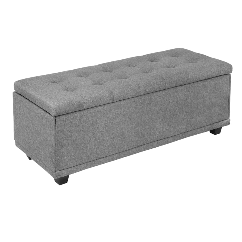 Terrific Homegear 47 Large Fabric Ottoman Storage Bench Chest Footrest With Padded Seat And Hinged Lid Gray Evergreenethics Interior Chair Design Evergreenethicsorg