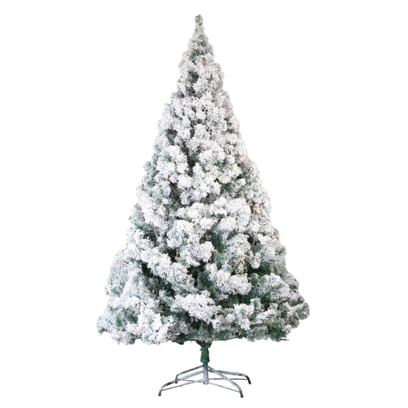 Homegear Deluxe 7.5ft Snow Flocked Artificial Christmas Tree with Metal Stand