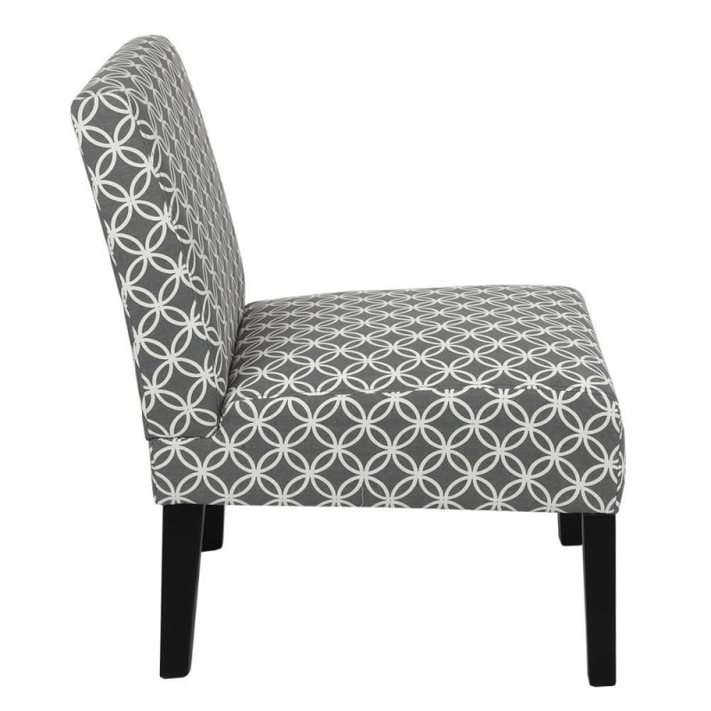 Homegear Home Furniture Accent Armless Chair - Contemporary Designs - Grey Intersecting Circles #2