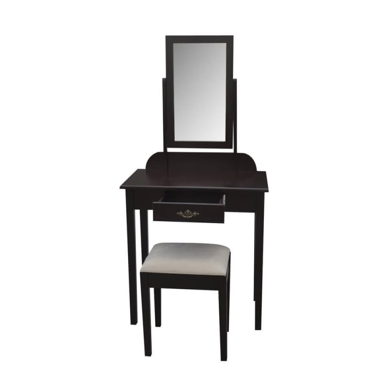 Homegear Vienna Dressing Table, Mirror & Stool Set - Brown