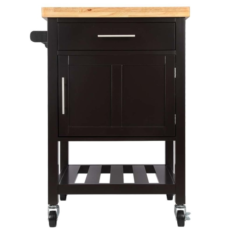 Kitchen Cart With Cabinet: Homegear Kitchen Cart Butchers Block With Shelf And