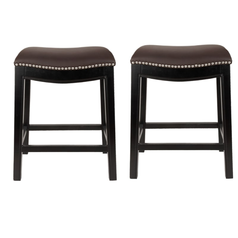 Homegear Faux Leather Backless Metal-Stud Bar Stools, Set of 2, Brown #1