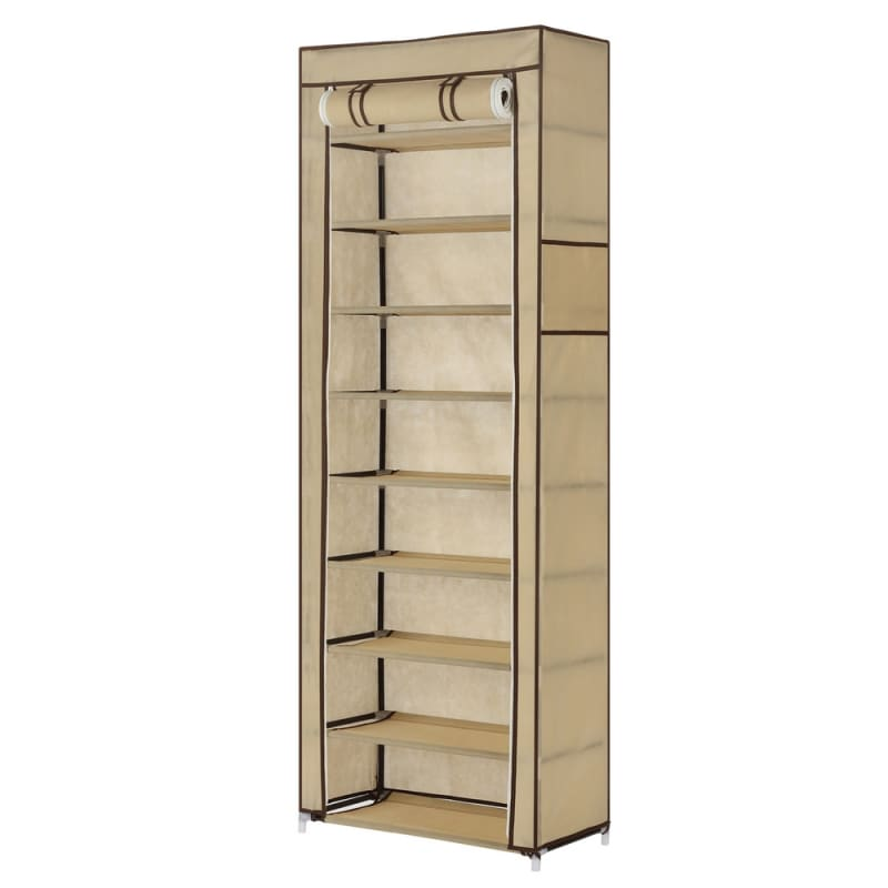 Homegear Large Free Standing Fabric Shoe Rack / Storage Cabinet Cream