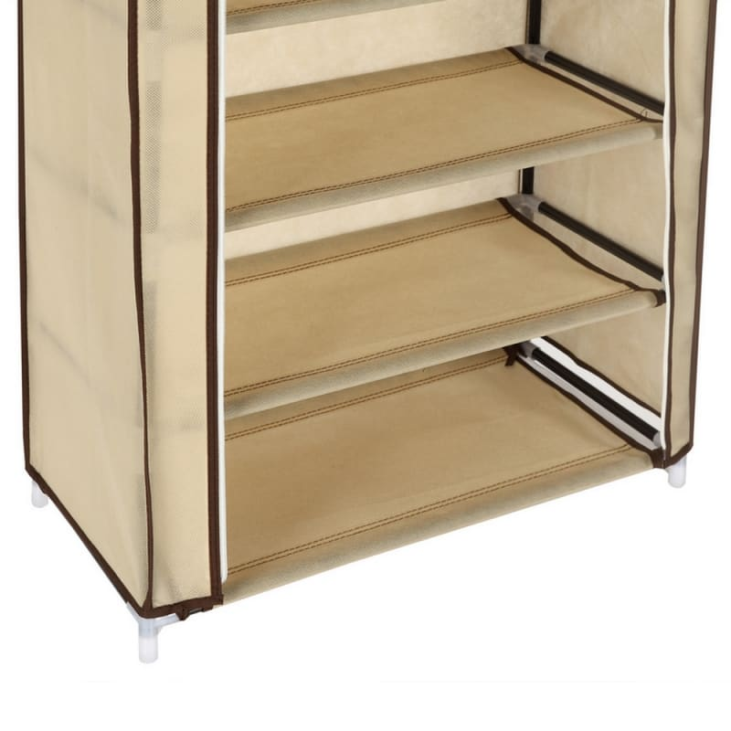 Homegear Large Free Standing Fabric Shoe Rack / Storage Cabinet Cream #4