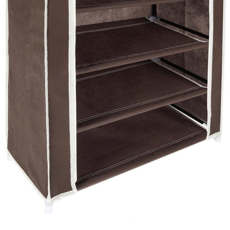 OPEN BOX Homegear Large Free Standing Fabric Shoe Rack /Storage Cabinet Dark Brown #5
