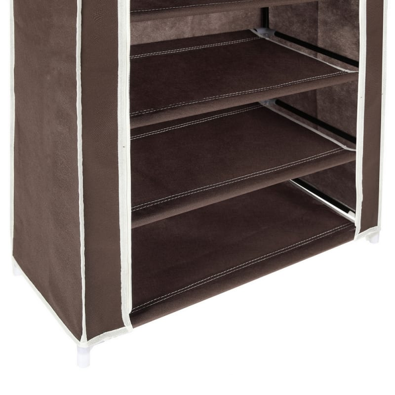Homegear Large Free Standing Fabric Shoe Rack /Storage Cabinet V2 Dark Brown #5