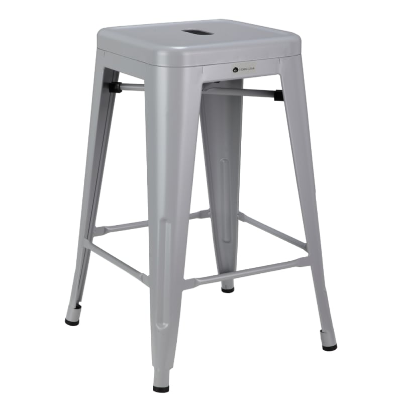 Homegear 4 Pack Stackable Metal Kitchen Stools - Silver #1