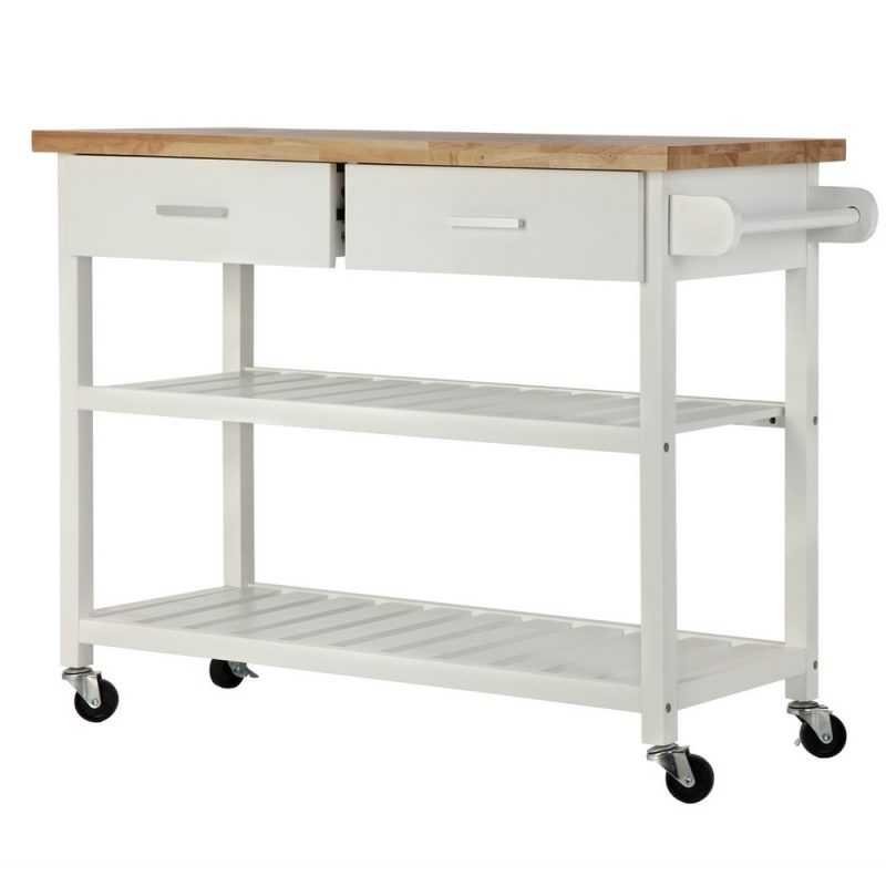 OPEN BOX Homegear Storage V2 Kitchen Cart Island White #1