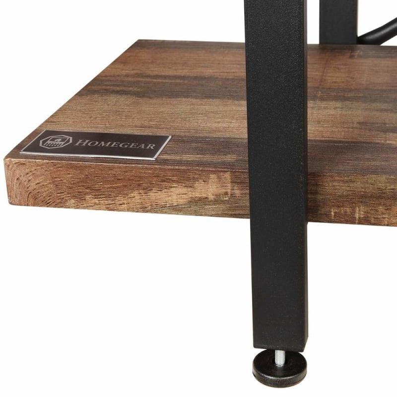 Homegear Furniture Vintage Oak Style 2-Tier Bookcase V2 - Wood Shelves with Black Iron Frame #3