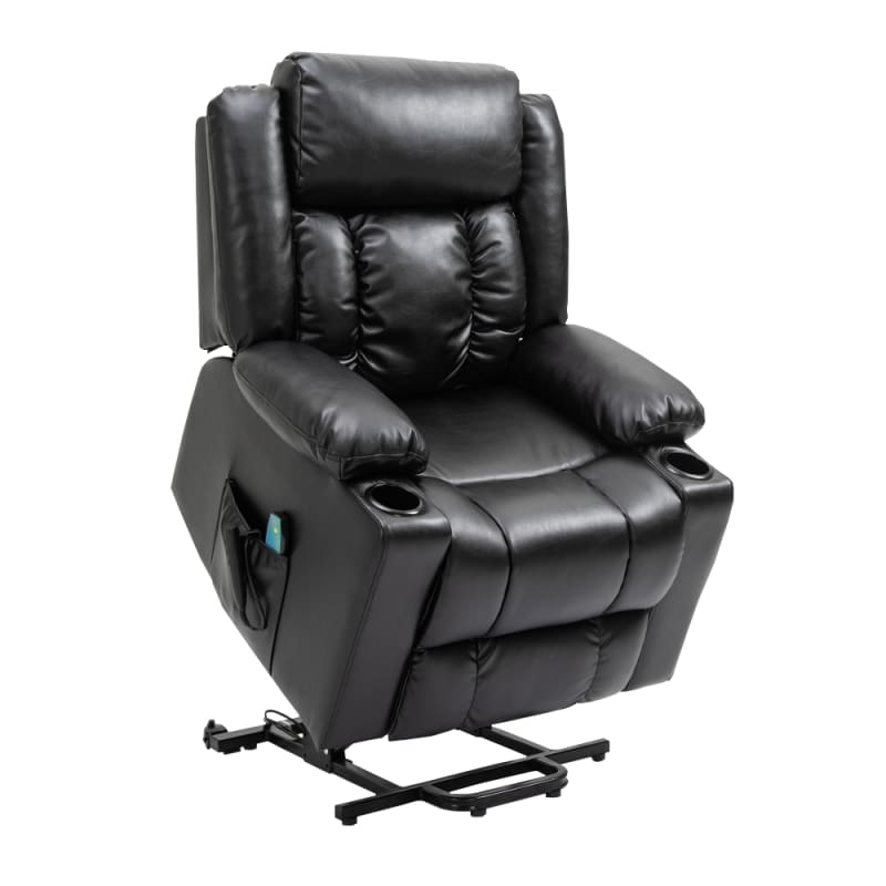 Homegear Air Leather Tri-Motor Reclining Lift Chair with Massage, Black #1