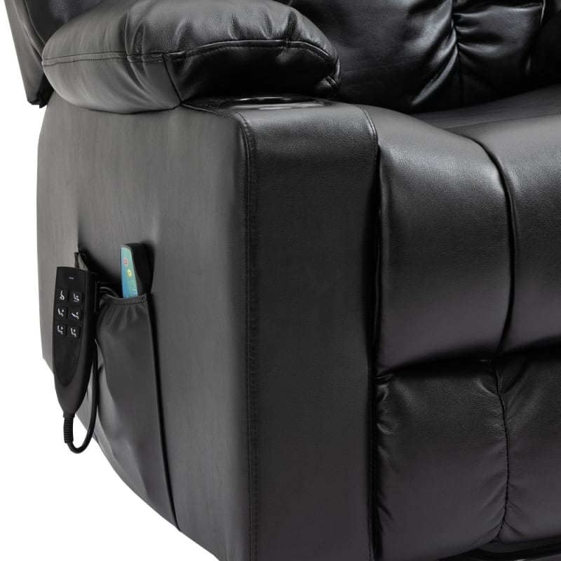 Homegear Air Leather Tri-Motor Reclining Lift Chair with Massage, Black #5