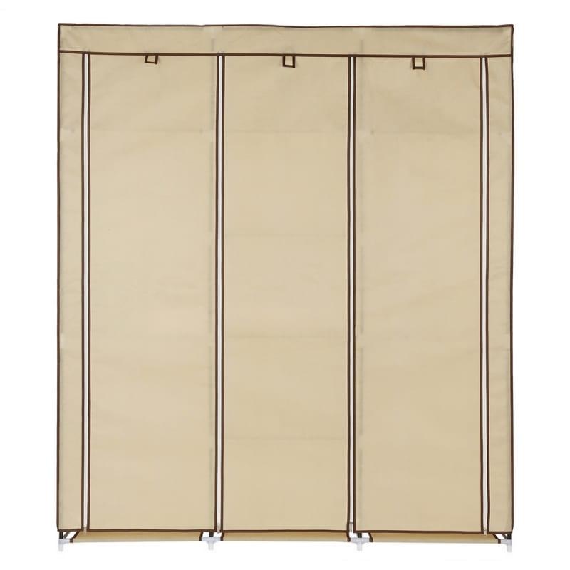 Homegear Triple Fabric Portable Wardrobe Closet Cream #1
