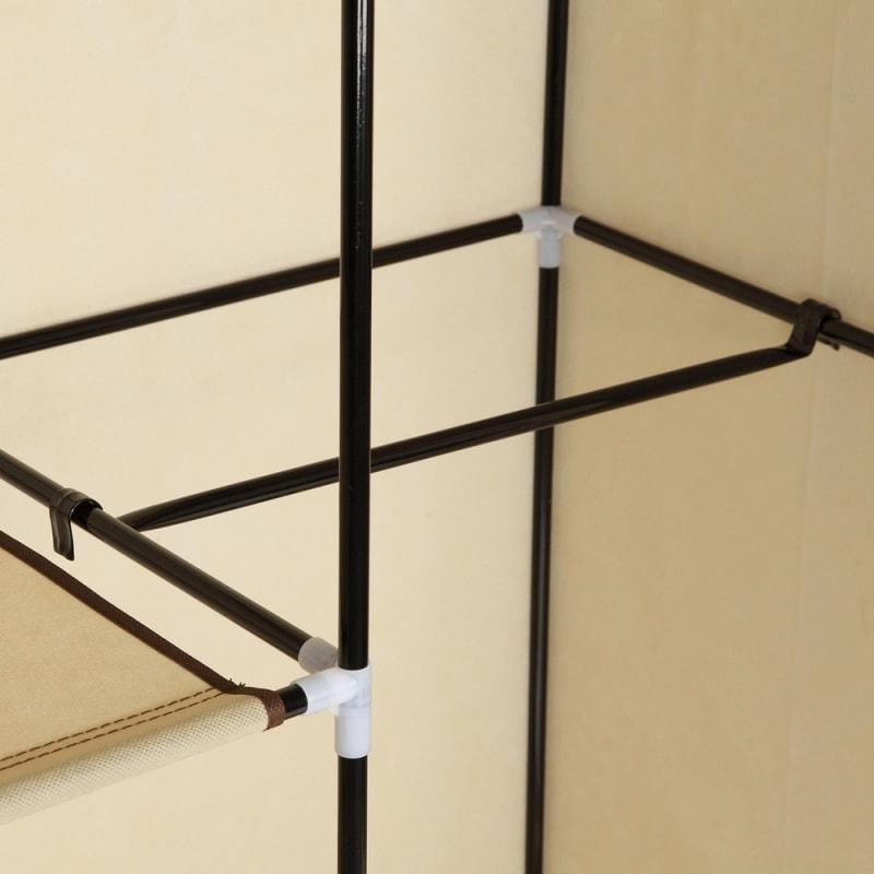 Homegear Triple Fabric Portable Wardrobe Closet Cream #6
