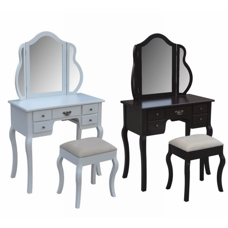 Homegear Venetian Dressing Table & Stool Set