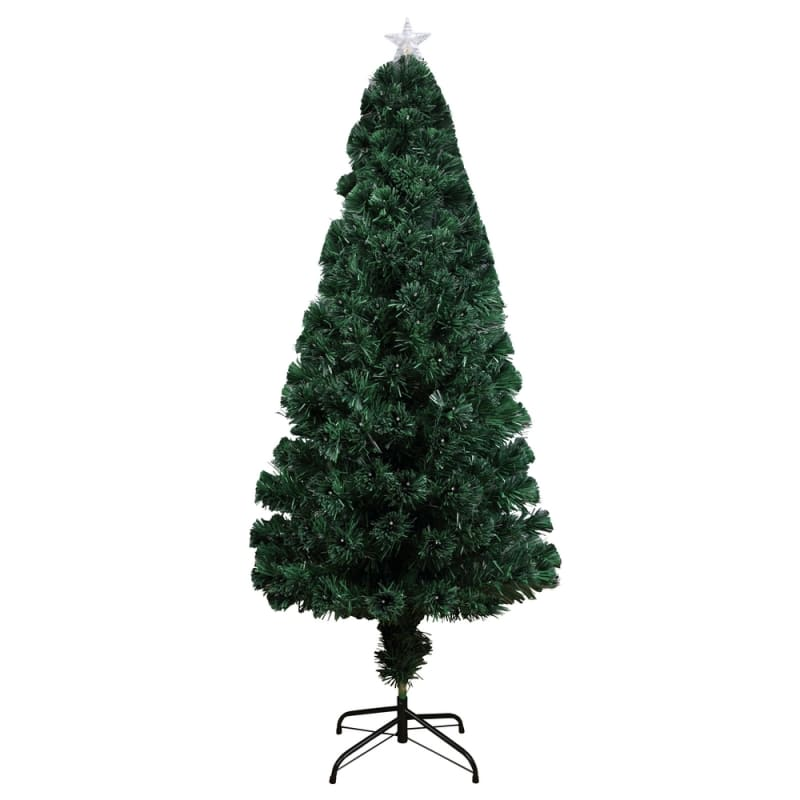 Homegear Artificial Pre-Lit Fiber-Optic Christmas Tree 6ft, Pre-lit with 235 Color Lights, Metal Stand and Star #2