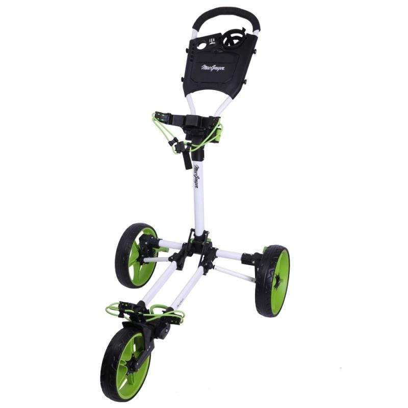 MacGregor Golf Flat Fold 3 Wheel Golf Cart - Folds Completely Flat - White/Green