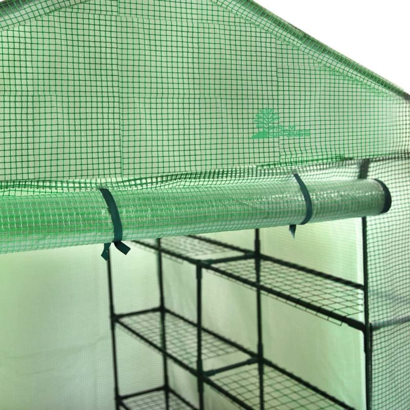 Palm Springs 12-Shelf Walk-in Greenhouse - Green Plastic Cover with Zippered Roll-Up Door #4