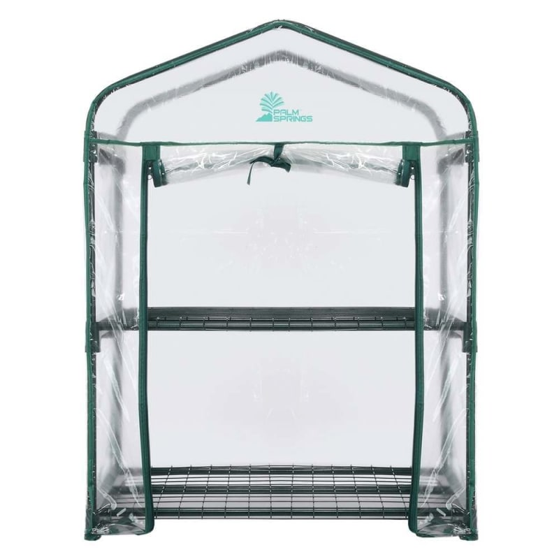 OPEN BOX Palm Springs 2-Tier Mini Greenhouse with Cover and Roll-up Zipper Door #1