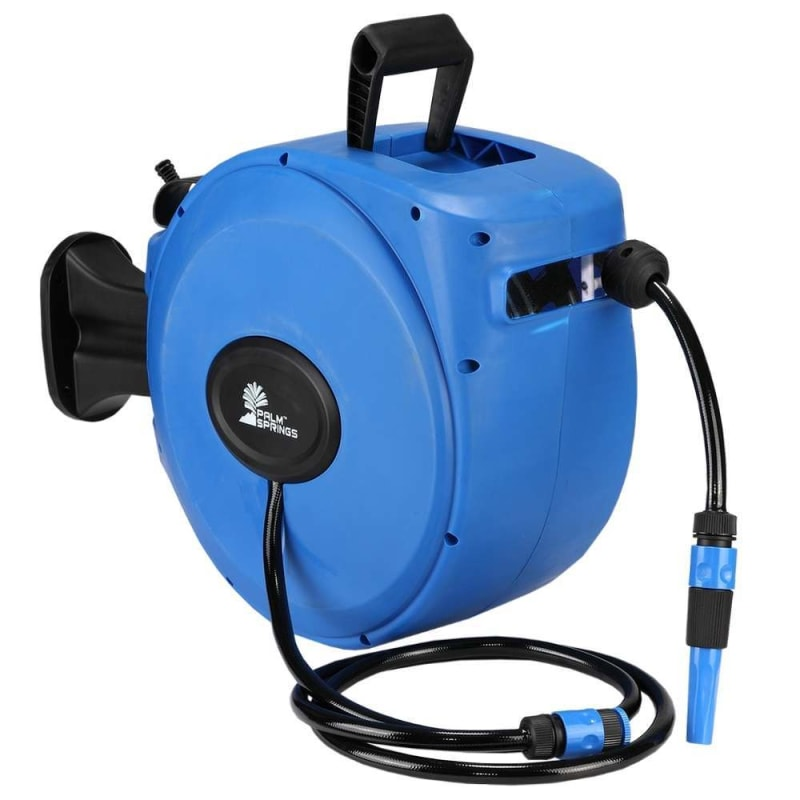 Open Box Palm Springs 65ft Wall Mounted Garden Hose Reel Full Swivel And Quick Auto Retract Golf Outlets Of America