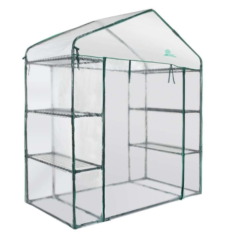 Palm Springs 6-Shelf Walk-In Greenhouse - Cover with Roll Up Zipper Door