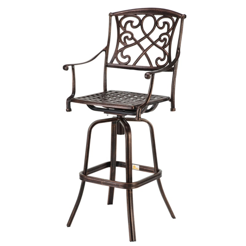 Fabulous Palm Springs Copper Wrought Iron Effect Outdoor Patio Bar Stool Swivel Chair Bralicious Painted Fabric Chair Ideas Braliciousco