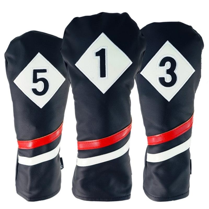 Ram Golf Premium Vintage Style PU Leather Headcovers Set, Retro Black, Driver, Fairway Woods (1,3,5) #