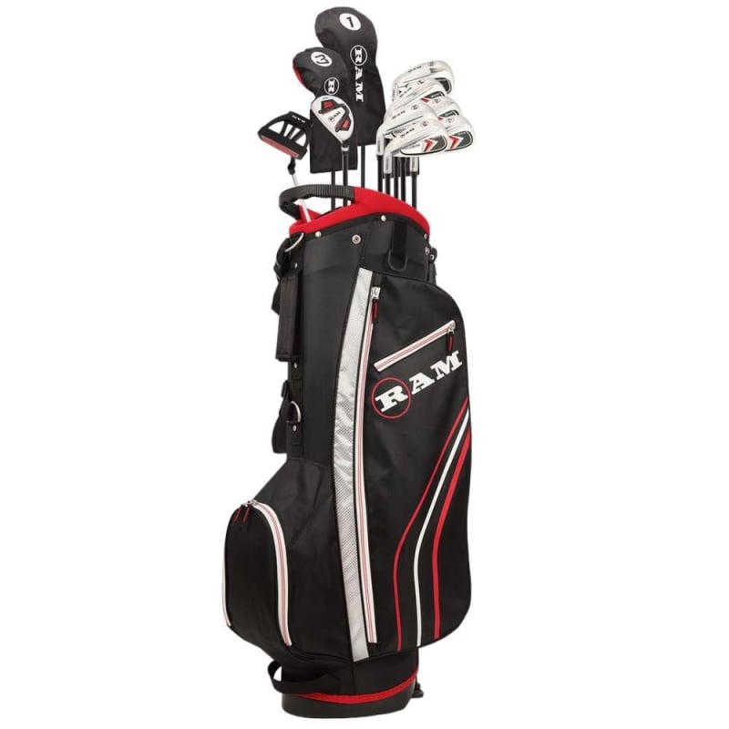 Ram Golf Accubar 13pc Golf Clubs Set - Graphite Shafted Woods and Irons - Mens Left Hand