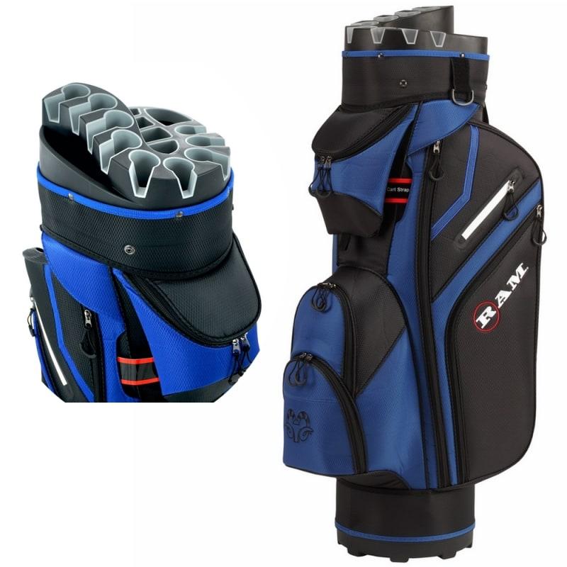 Ram Golf Premium Cart Bag with 14 Way Molded Organizer Divider Top Black Blue