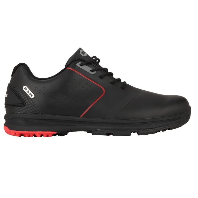 Ram Golf Player Mens Waterproof Golf Shoes - Black / Red #