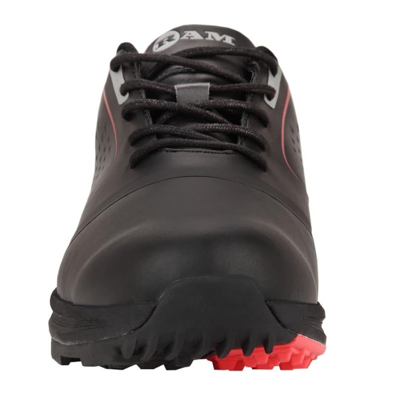 Ram Golf Player Mens Waterproof Golf Shoes - Black / Red #1