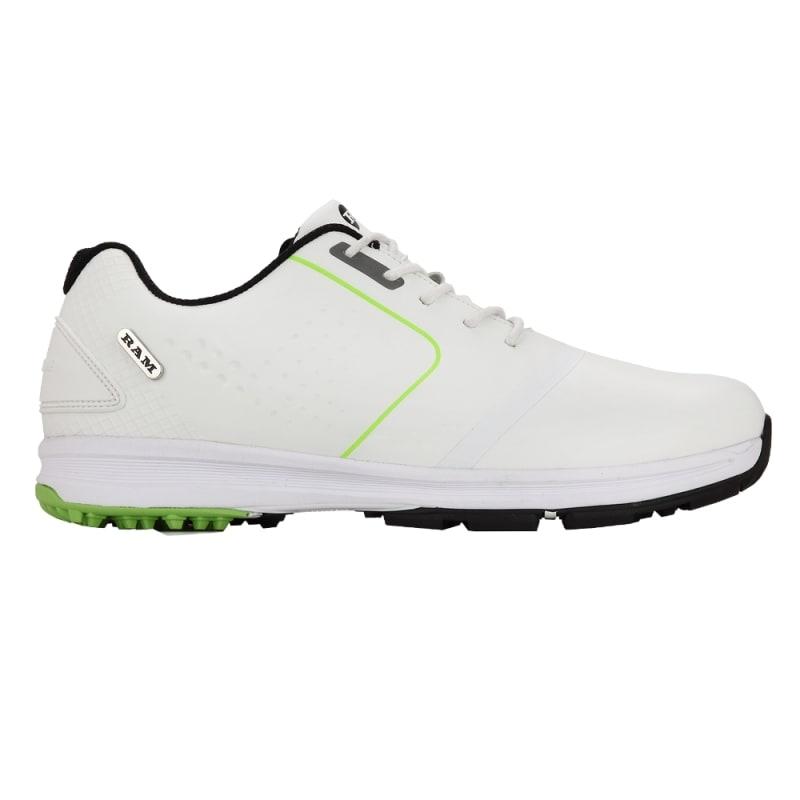 Ram Golf Player Mens Waterproof Golf Shoes - White / Green #1