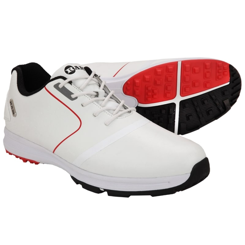 Ram Golf Player Mens Waterproof Golf Shoes - White / Red #