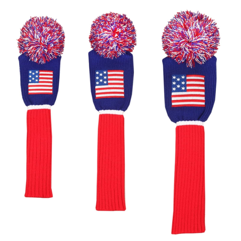 Ram Golf Patriotic USA Stars and Stripes Knitted Golf Headcover Set for Driver, Wood and Hybrid