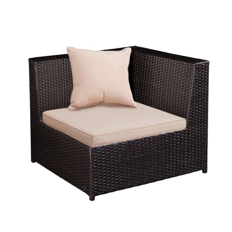 Palm Springs Outdoor 5 pc Furniture Wicker Patio Set w/ Chairs, Table & Cushions - Chocolate #3
