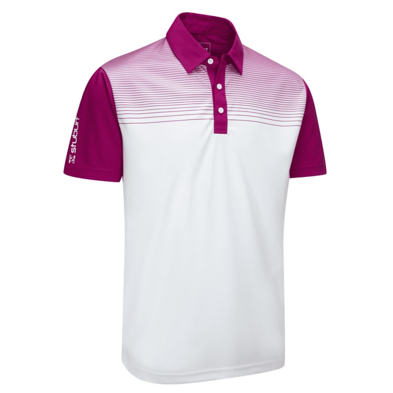 Stuburt Endurance Faded Stripe Polo Shirt White Plum