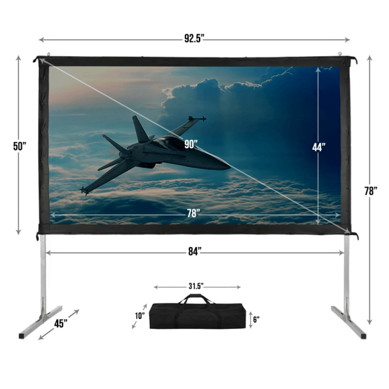 "Homegear Fast Fold Portable 90"" Projector Screen 16:9 HD for Indoor/Outdoor Use #3"
