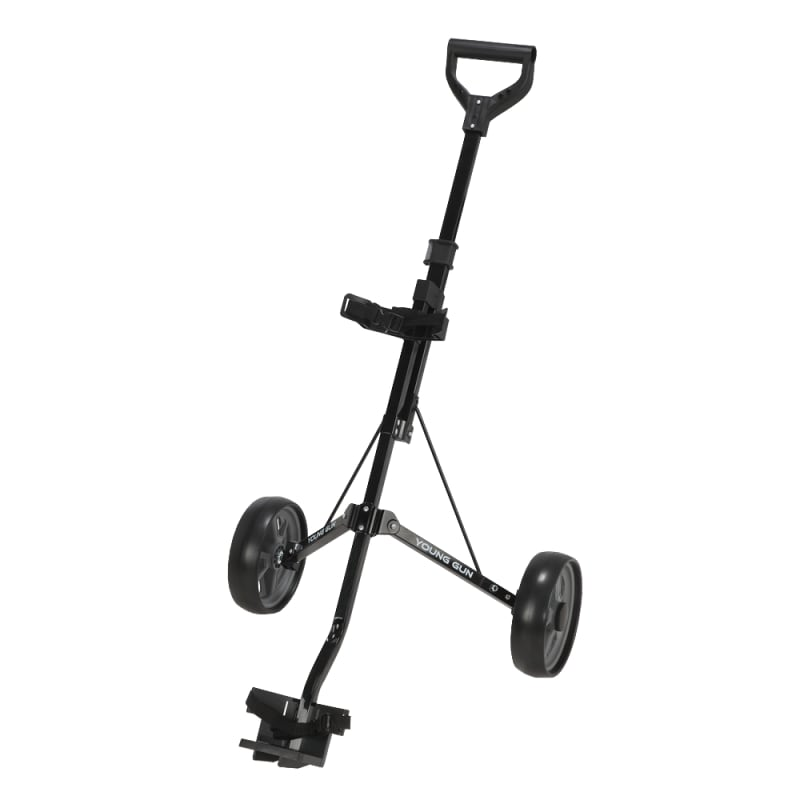 Young Gun Kids Adjustable Golf Cart for Junior Golfers 3-14 Years Old - Black/Grey #