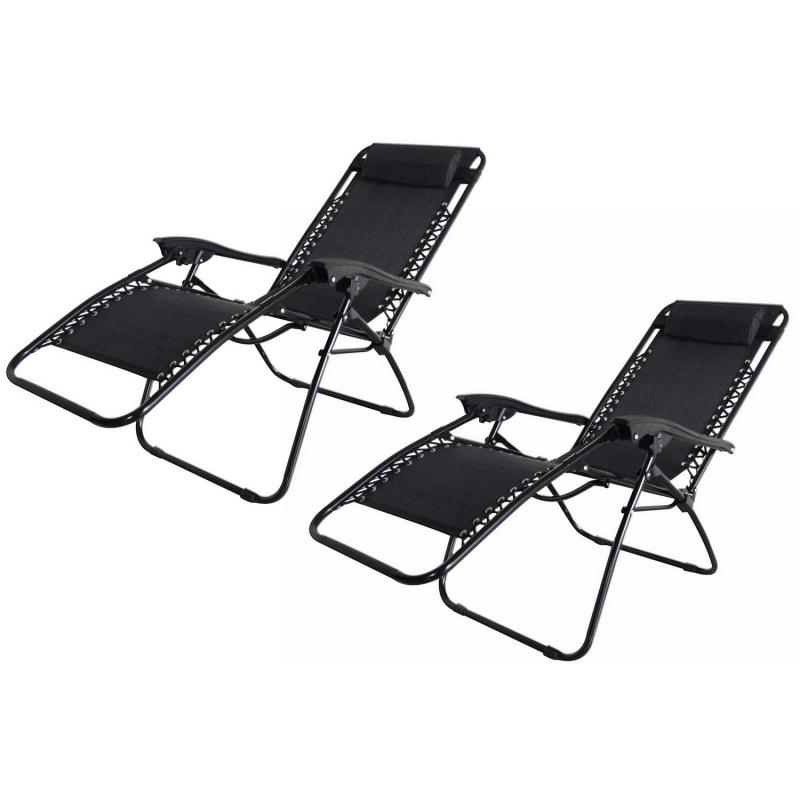 2x Palm Springs Folding Zero Gravity Recliner Chair  #3