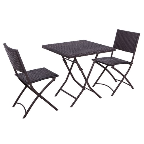 Palm Springs 3Pc Rattan Dining Table and Chair Set
