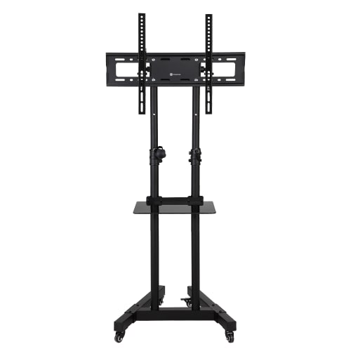 OPEN BOX Homegear Portable TV Cart Stand with Height / Tilt Adjustable Universal Mount on Wheels