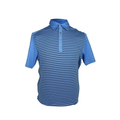 Ashworth Mens Striped Polo Shirt With Plain Sleeve
