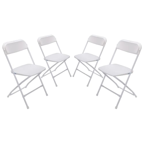 Palm Springs Heavy Duty Folding Plastic/Steel Chairs – 4 PACK