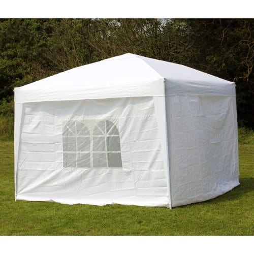 OPEN BOX Palm Springs 10 x 10 EZ Pop-Up Gazebo w/4 SIDEWALLS - White