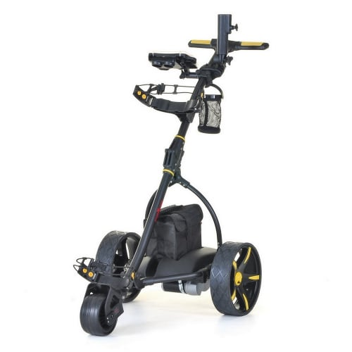 Caddymatic V2 Electric Golf Trolley / Cart With 36 Hole battery With Auto-Distance Functionality Yellow