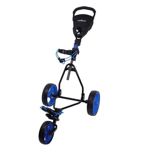 Caddymatic Junior Golf Cart - 3 Wheel Folding Cart for Kids- Black/Blue
